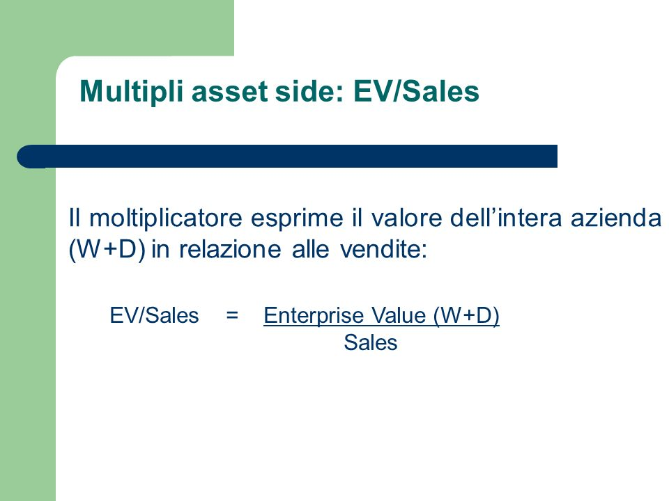 Multipli asset side: EV/Sales