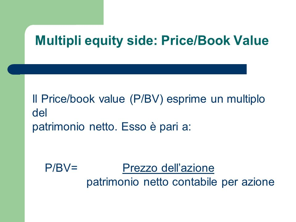 Multipli equity side: Price/Book Value