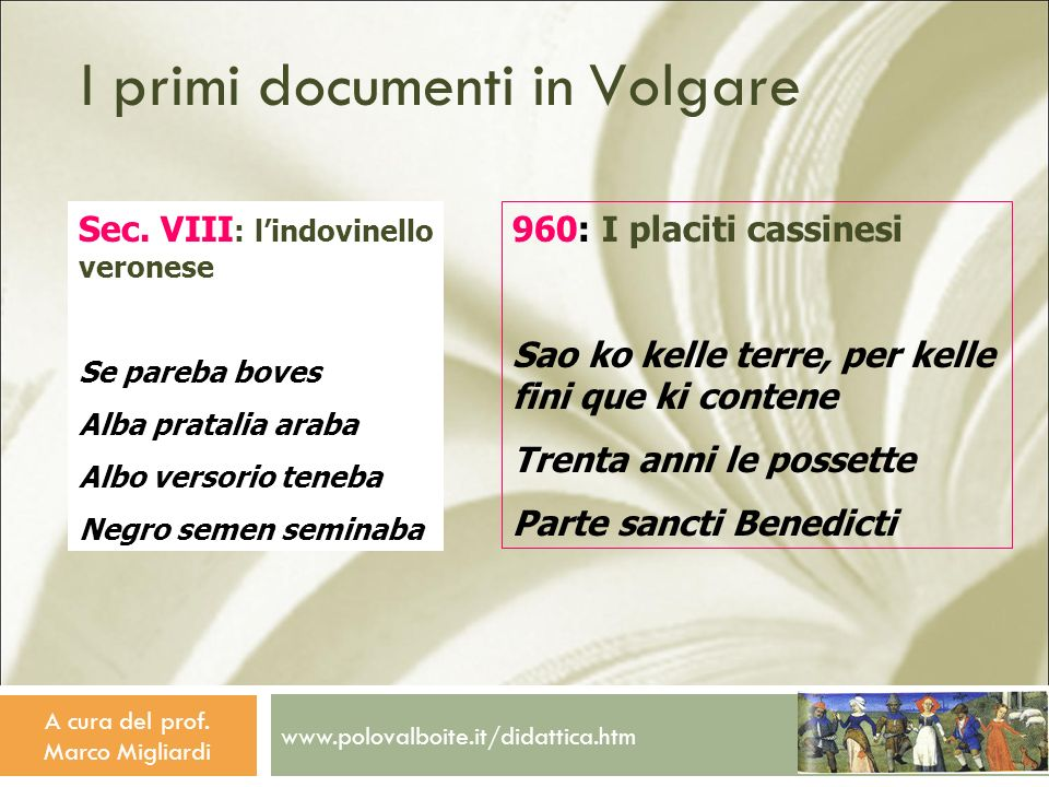 I primi documenti in Volgare