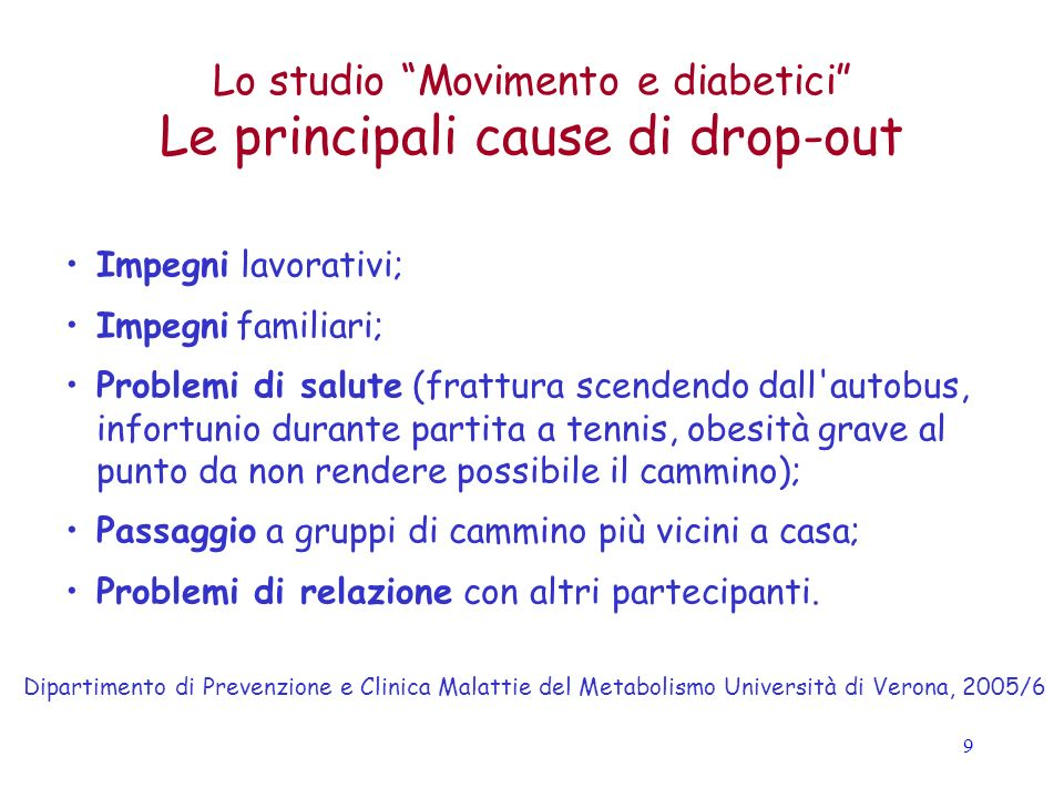 Le principali cause di drop-out