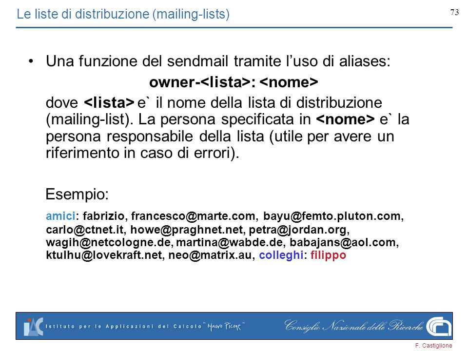 Le liste di distribuzione (mailing-lists)