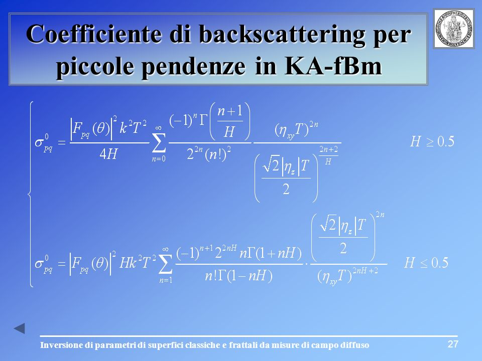 Coefficiente di backscattering per piccole pendenze in KA-fBm