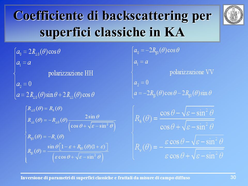 Coefficiente di backscattering per superfici classiche in KA
