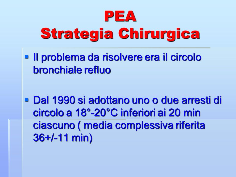 PEA Strategia Chirurgica