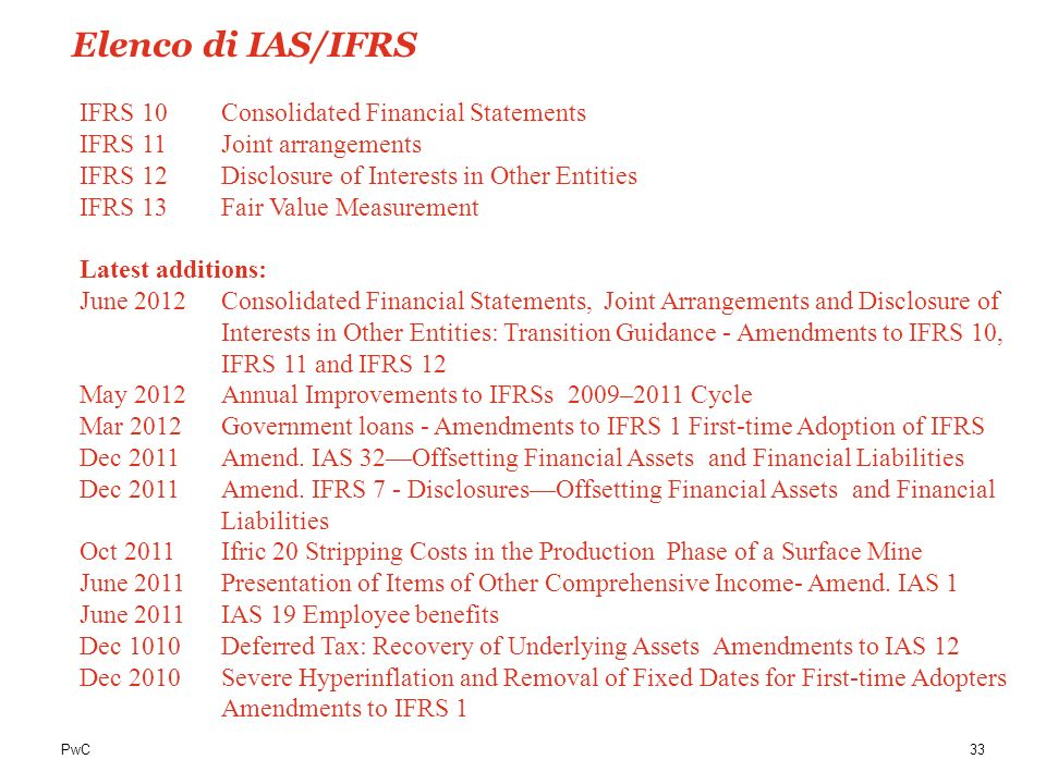 Elenco di IAS/IFRS IFRS 10 Consolidated Financial Statements