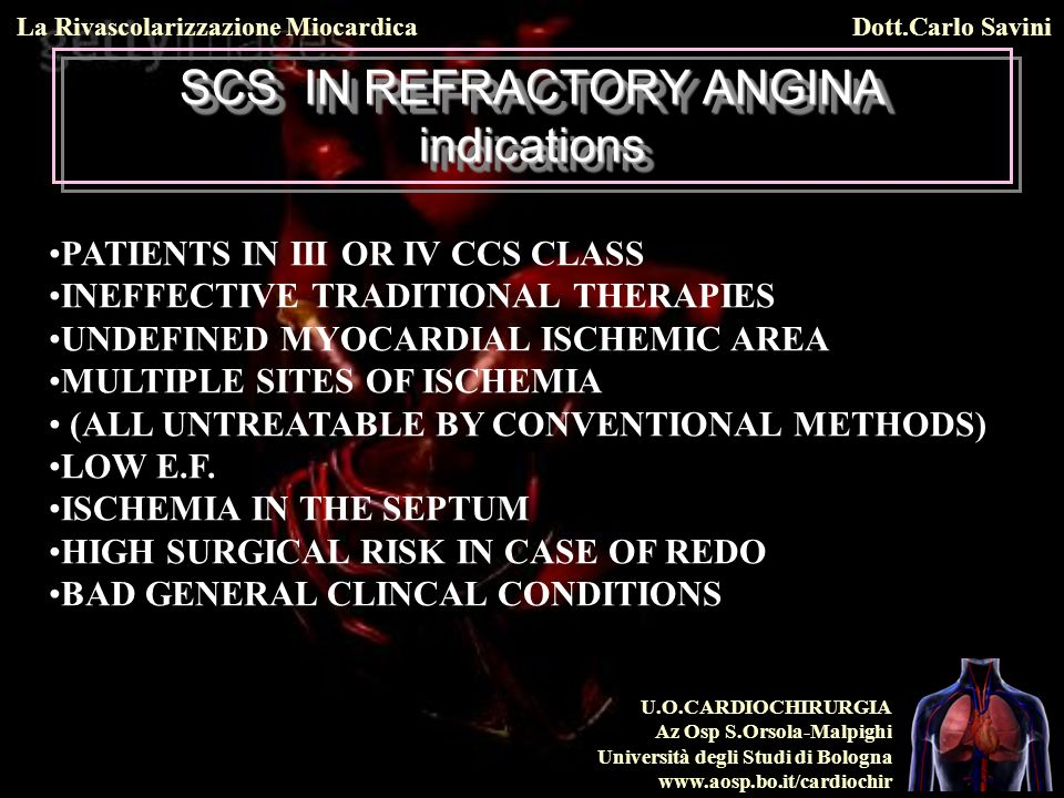 SCS IN REFRACTORY ANGINA indications
