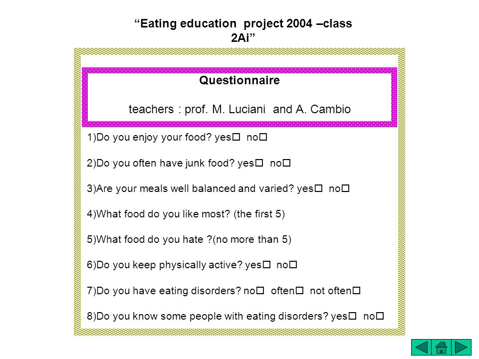 Eating education project 2004 –class 2Ai