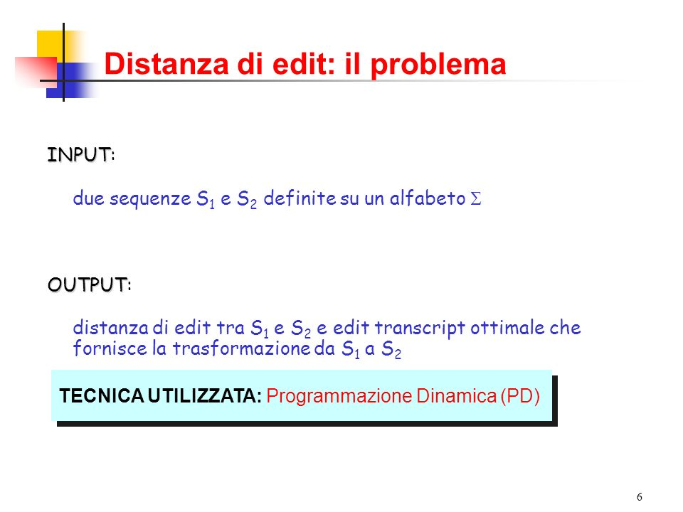 Distanza di edit: il problema