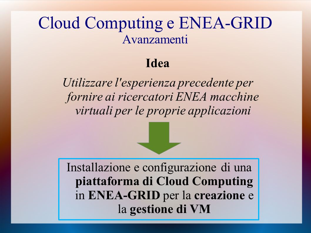 Cloud Computing e ENEA-GRID Avanzamenti