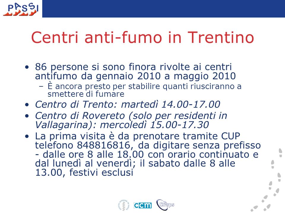 Centri anti-fumo in Trentino