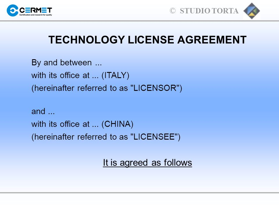 TECHNOLOGY LICENSE AGREEMENT