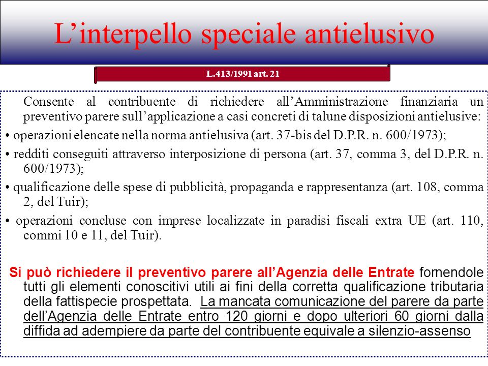 L'interpello speciale antielusivo