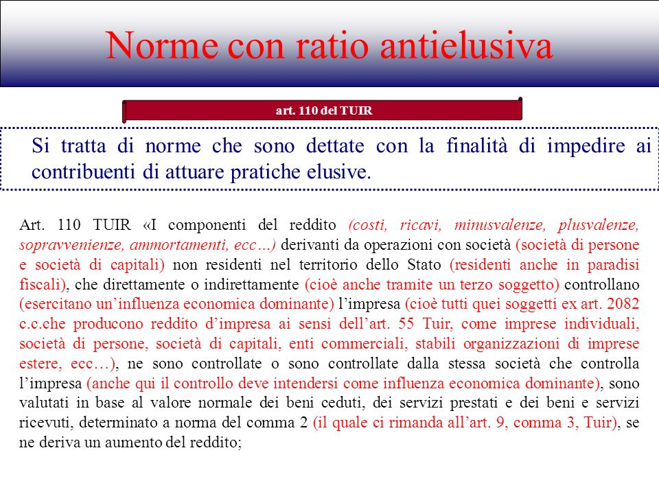 Norme con ratio antielusiva