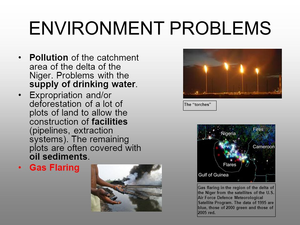 ENVIRONMENT PROBLEMS Pollution of the catchment area of the delta of the Niger. Problems with the supply of drinking water.