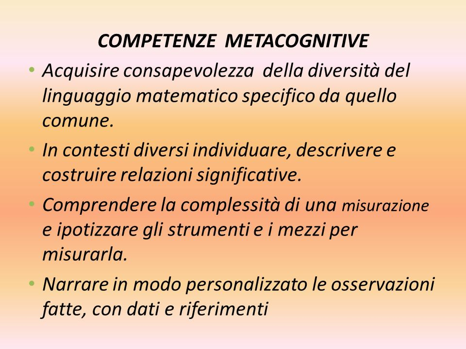 COMPETENZE METACOGNITIVE