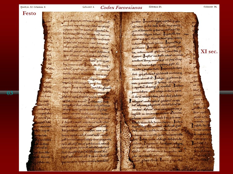 Codex Farnesianus Festo XI sec. 03