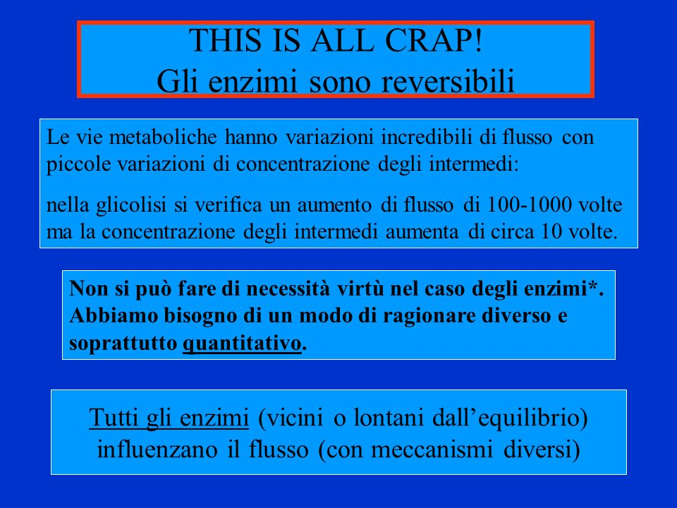 THIS IS ALL CRAP! Gli enzimi sono reversibili