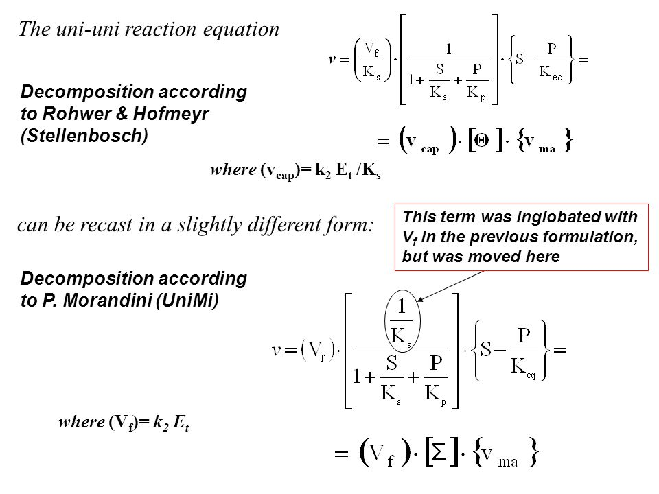 The uni-uni reaction equation