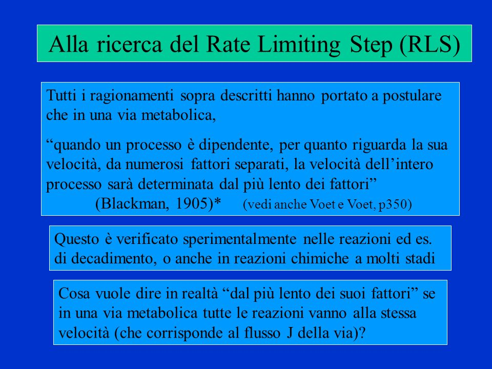 Alla ricerca del Rate Limiting Step (RLS)