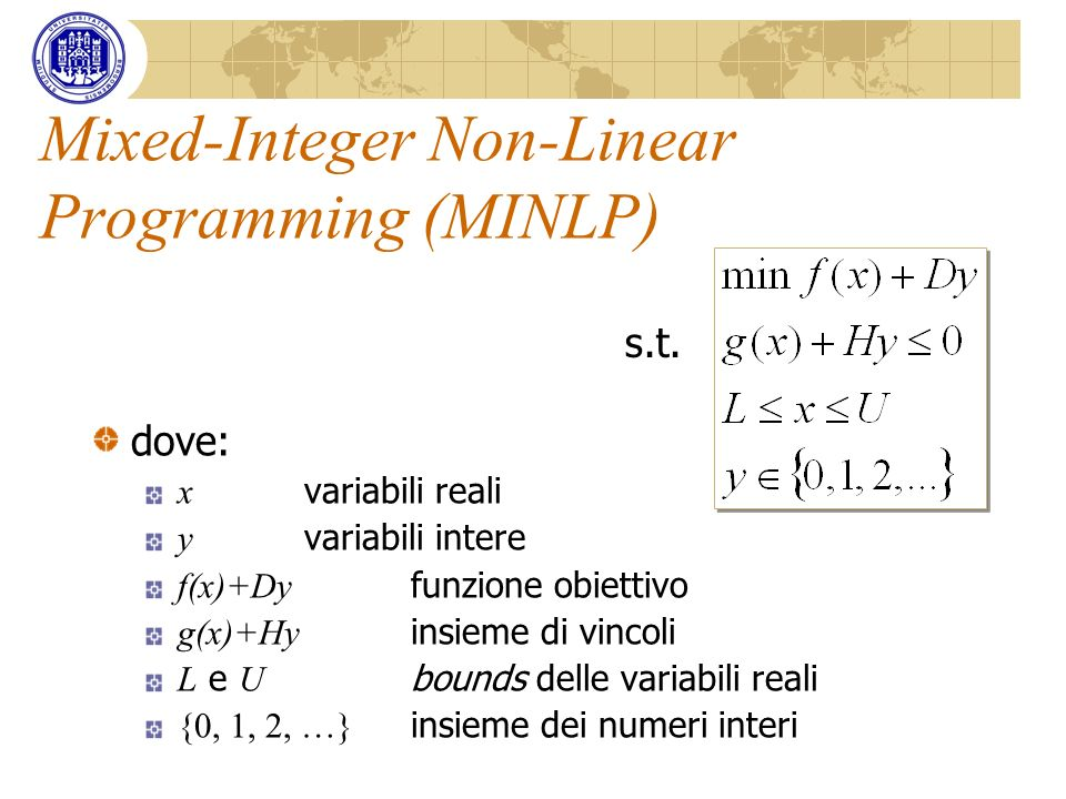 Mixed-Integer Non-Linear Programming (MINLP)