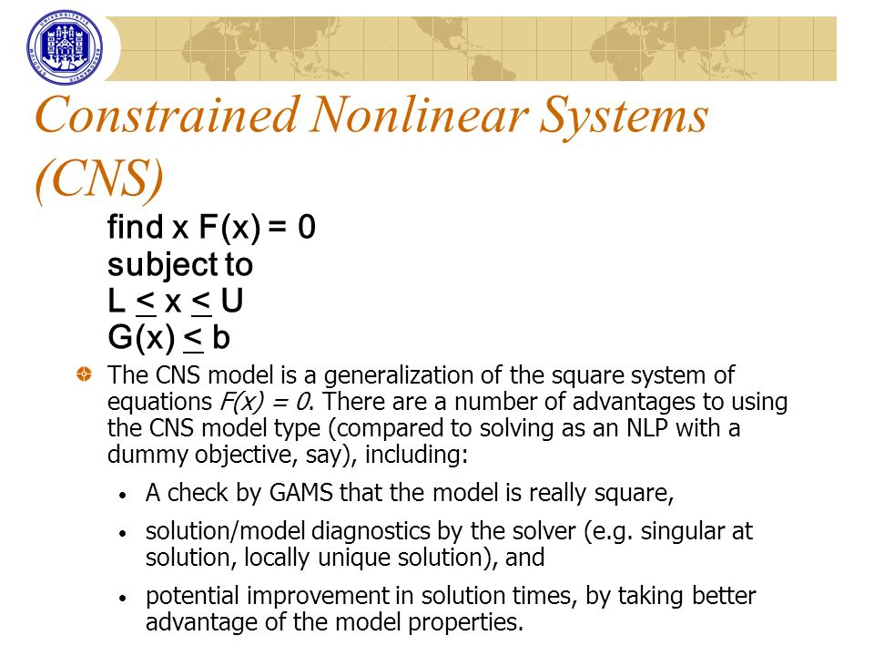Constrained Nonlinear Systems (CNS)