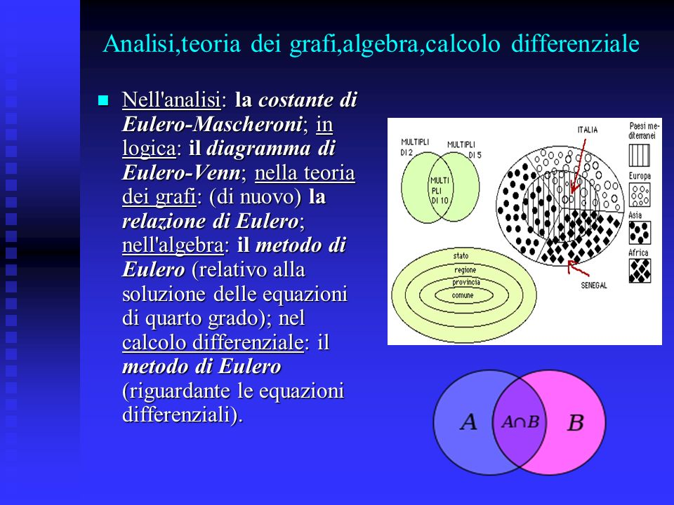 Analisi,teoria dei grafi,algebra,calcolo differenziale