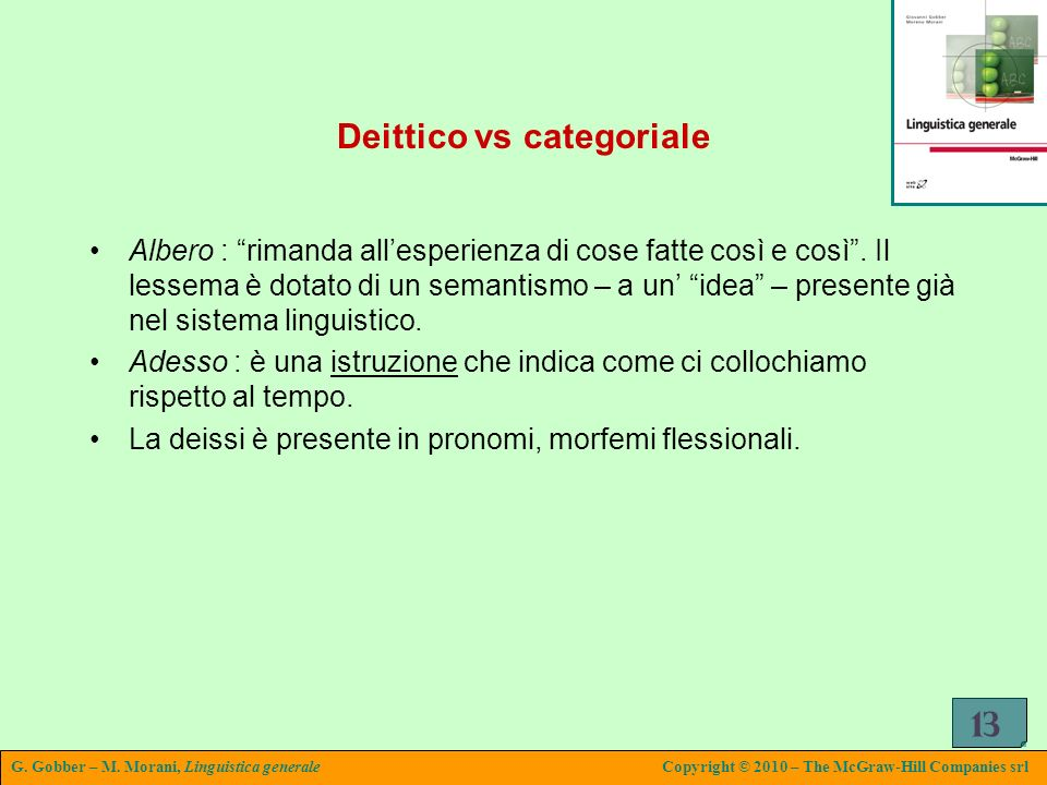 Deittico vs categoriale
