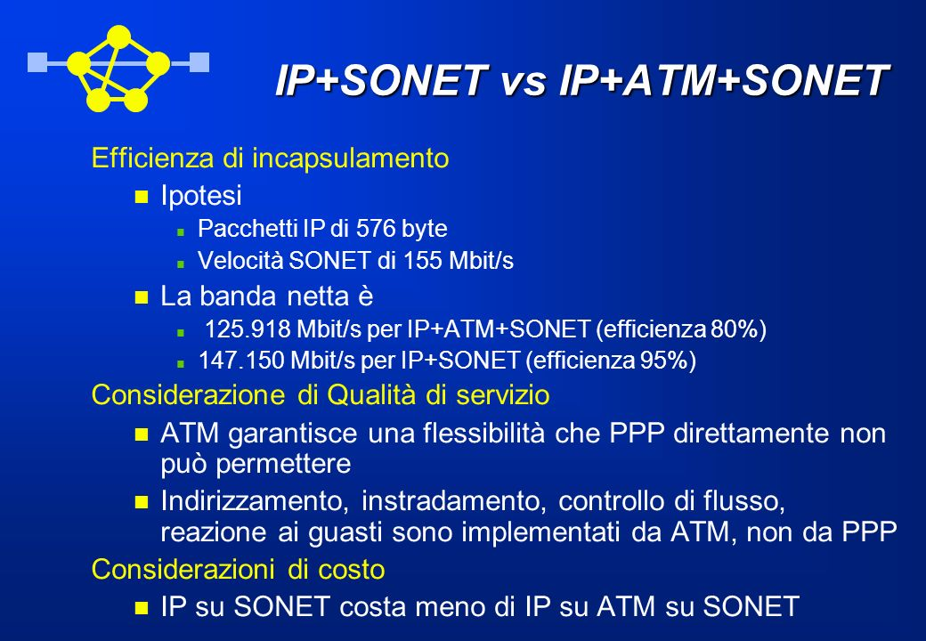 IP+SONET vs IP+ATM+SONET
