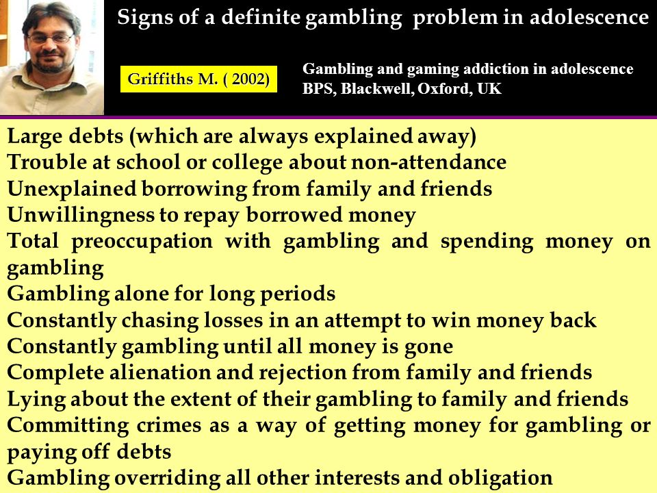 Signs of a definite gambling problem in adolescence