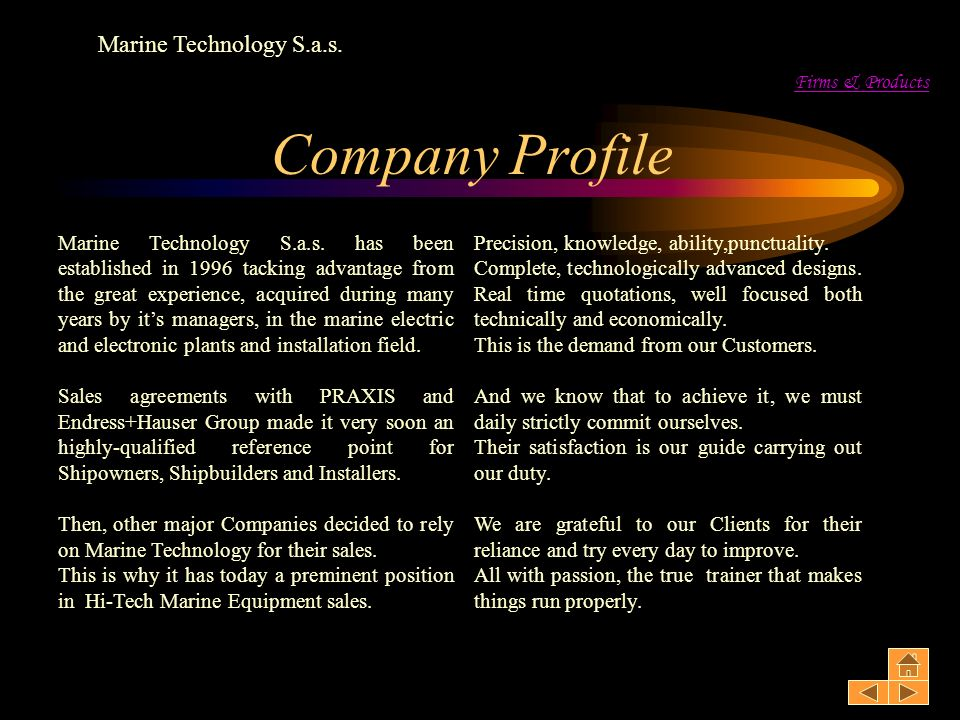 Company Profile Marine Technology S.a.s. Firms & Products
