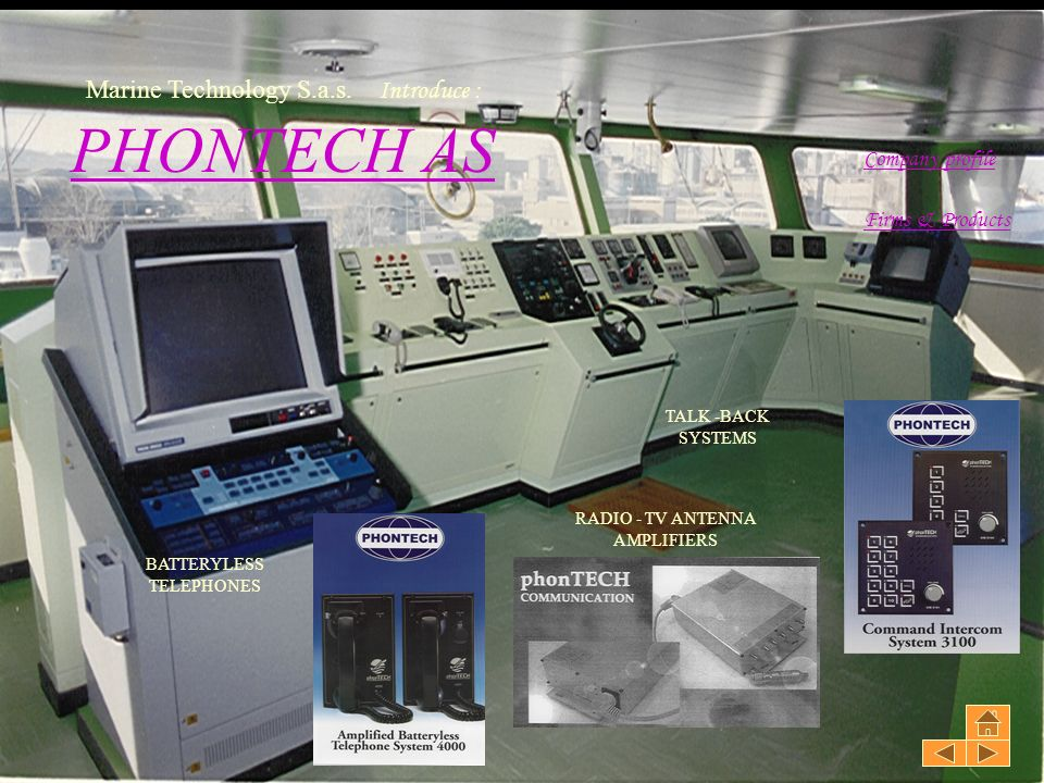 PHONTECH AS Marine Technology S.a.s. Introduce : Company profile