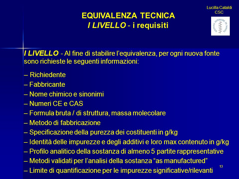 EQUIVALENZA TECNICA I LIVELLO - i requisiti