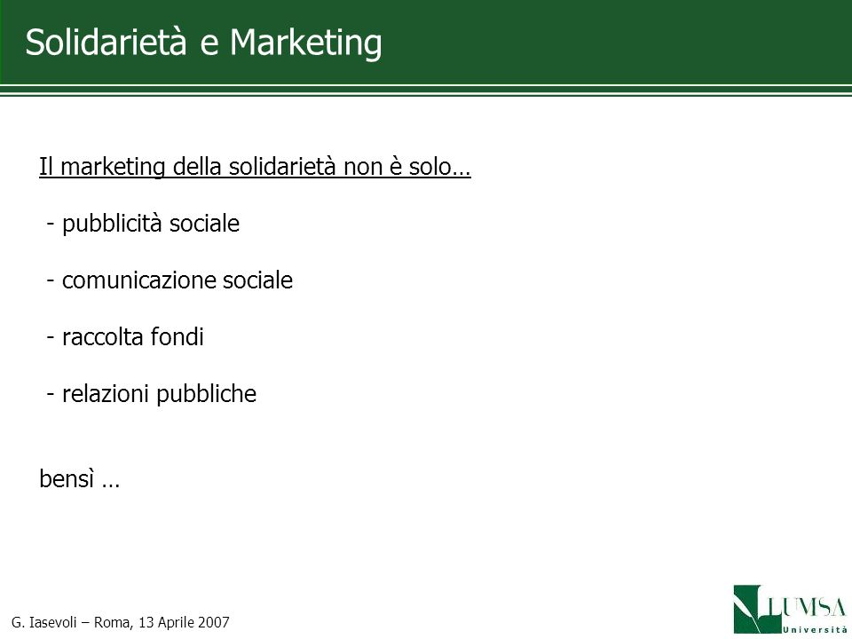 Solidarietà e Marketing