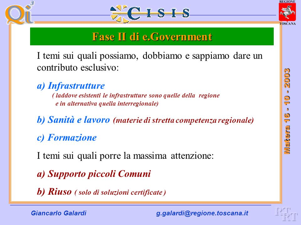 Fase II di e.Government RT RT