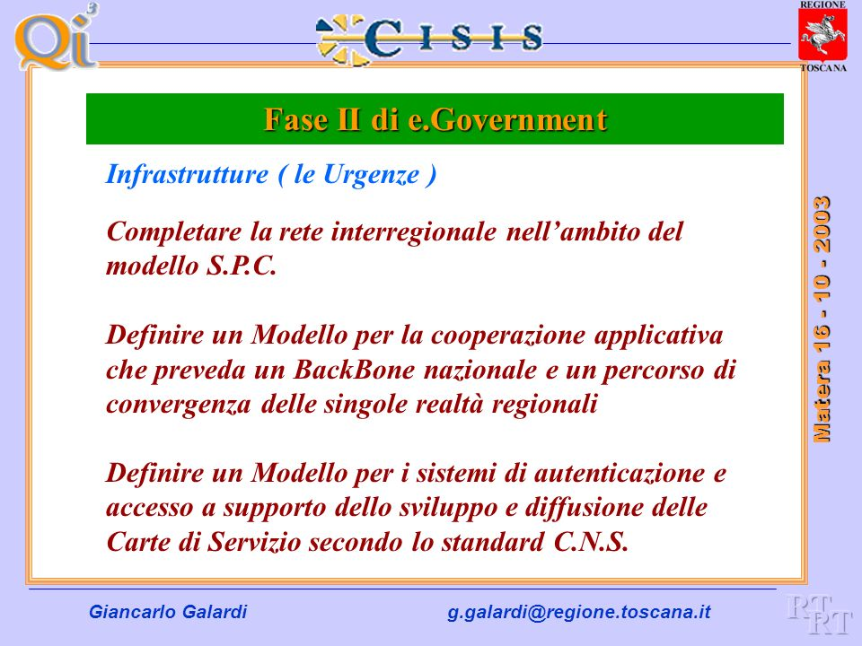 Fase II di e.Government RT RT Infrastrutture ( le Urgenze )