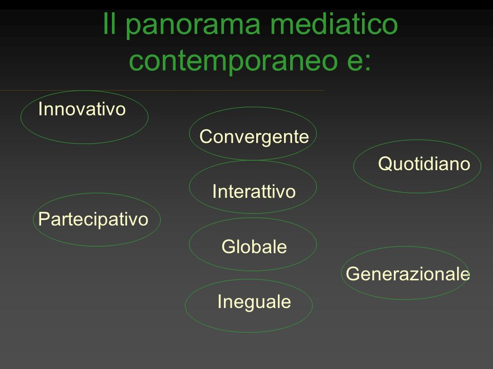 Il panorama mediatico contemporaneo e: