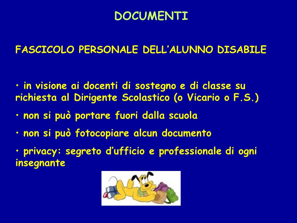 DOCUMENTI FASCICOLO PERSONALE DELL'ALUNNO DISABILE