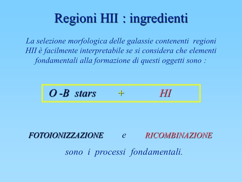 Regioni HII : ingredienti
