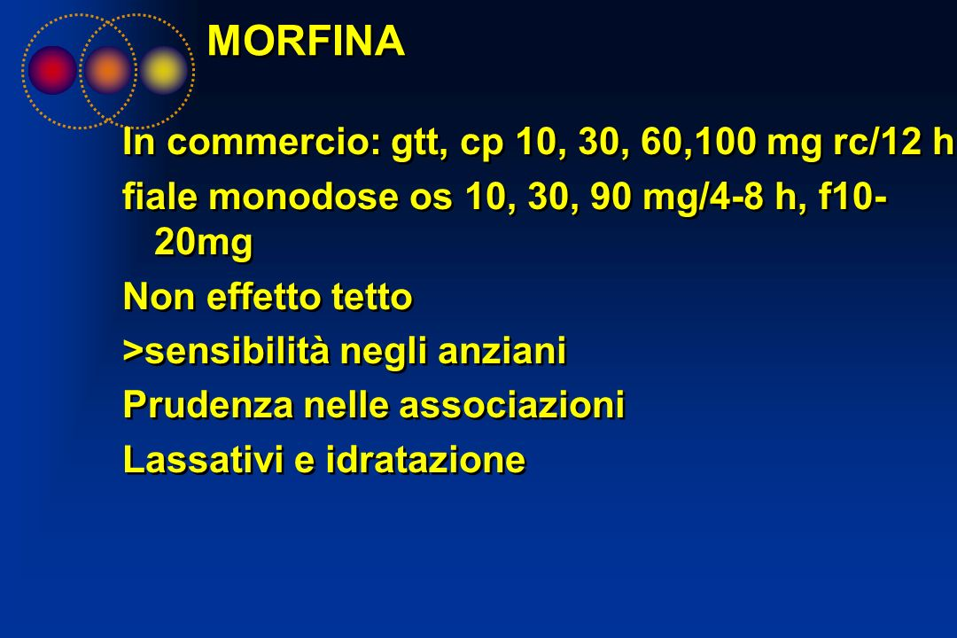 MORFINA In commercio: gtt, cp 10, 30, 60,100 mg rc/12 h,