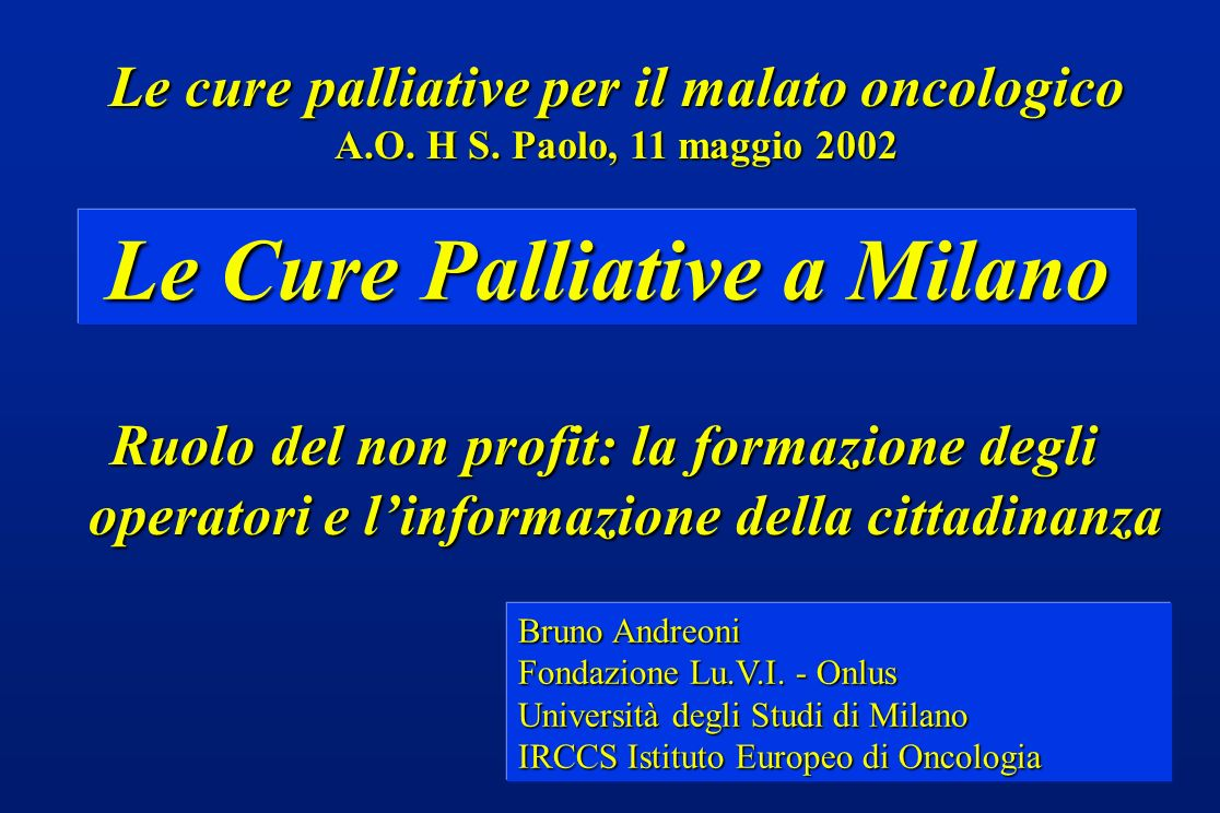 Le Cure Palliative a Milano