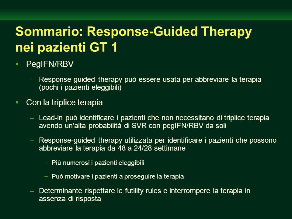 Sommario: Response-Guided Therapy nei pazienti GT 1