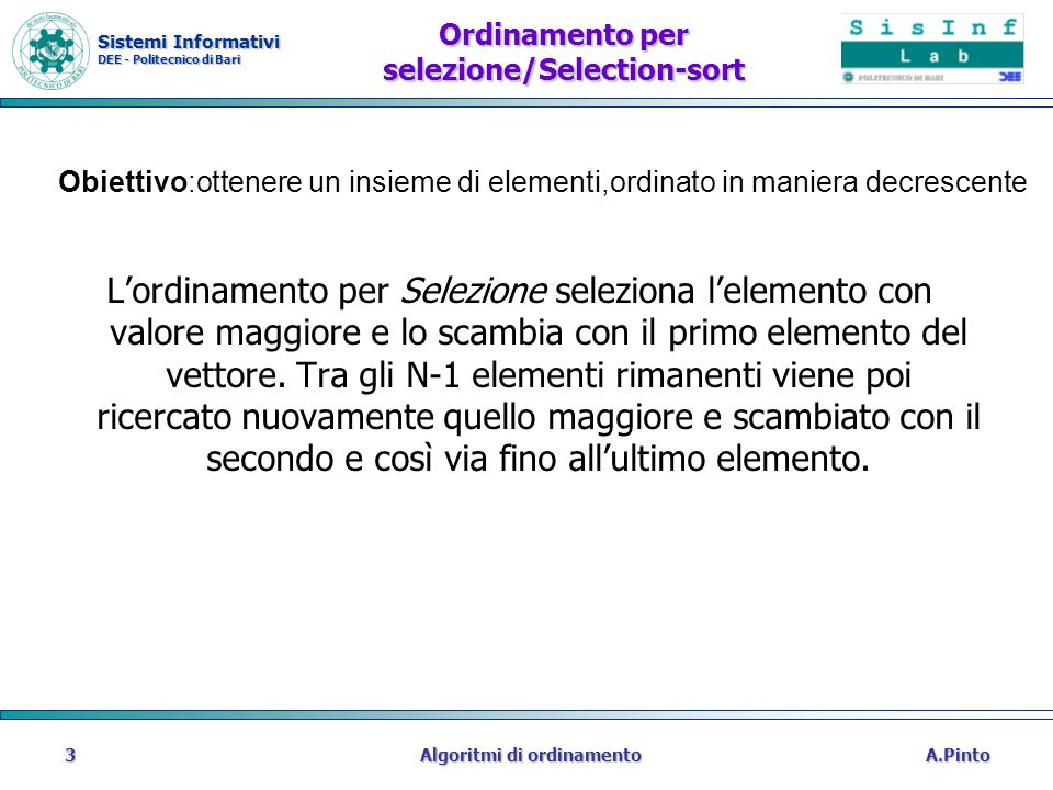 Ordinamento per selezione/Selection-sort
