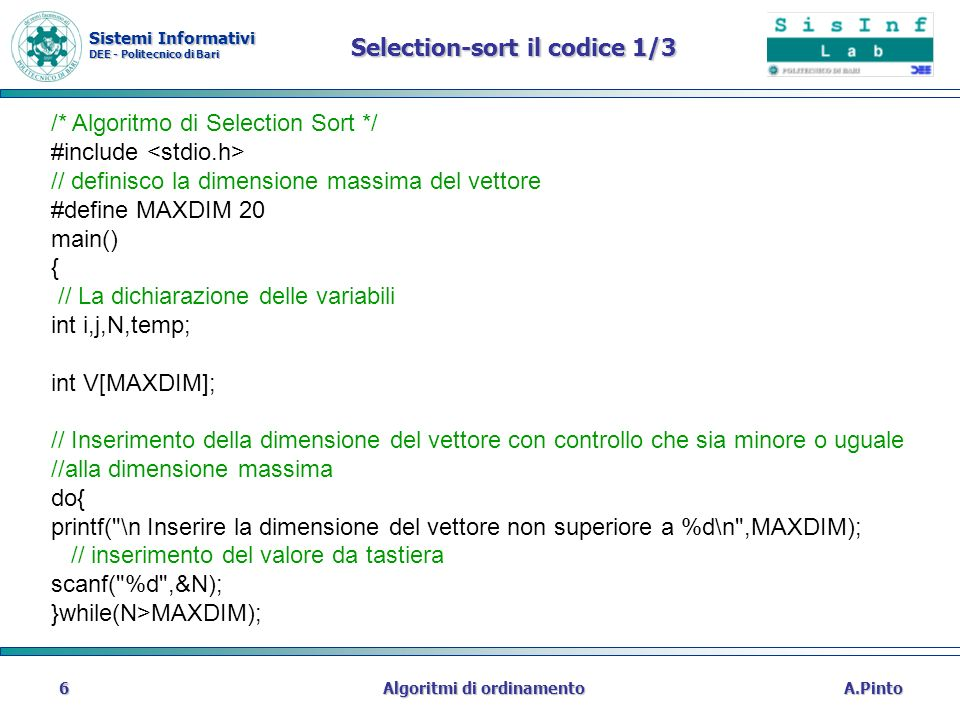 Selection-sort il codice 1/3