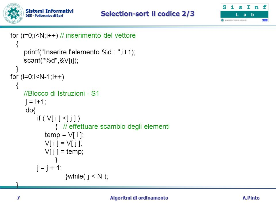 Selection-sort il codice 2/3