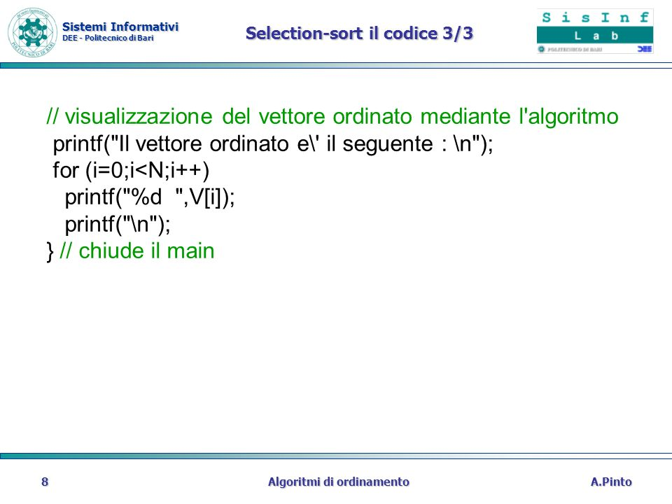 Selection-sort il codice 3/3