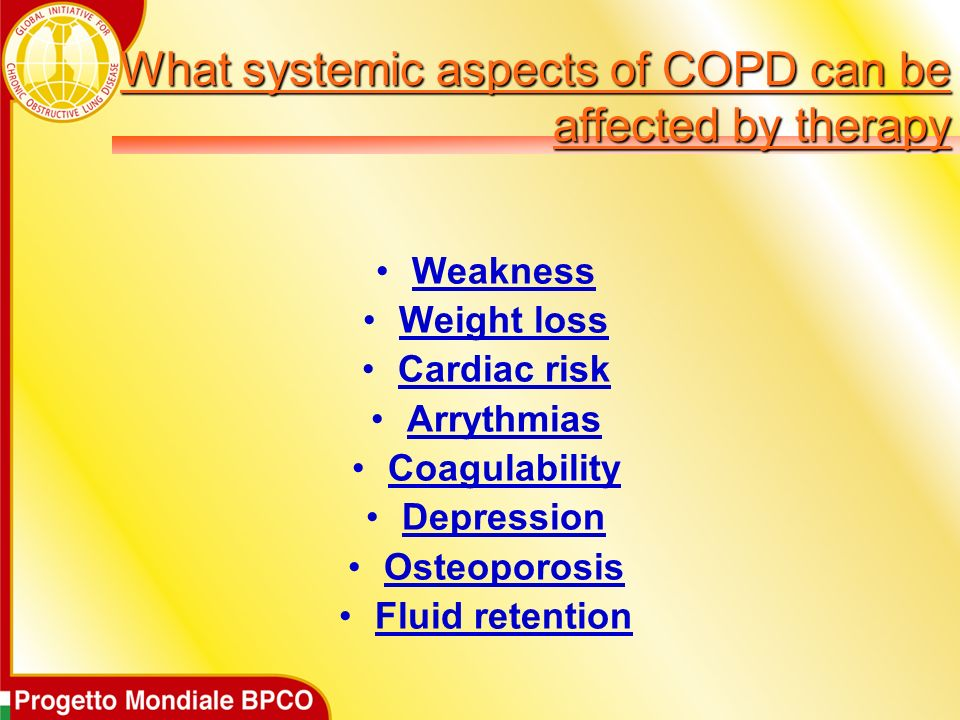 What systemic aspects of COPD can be affected by therapy