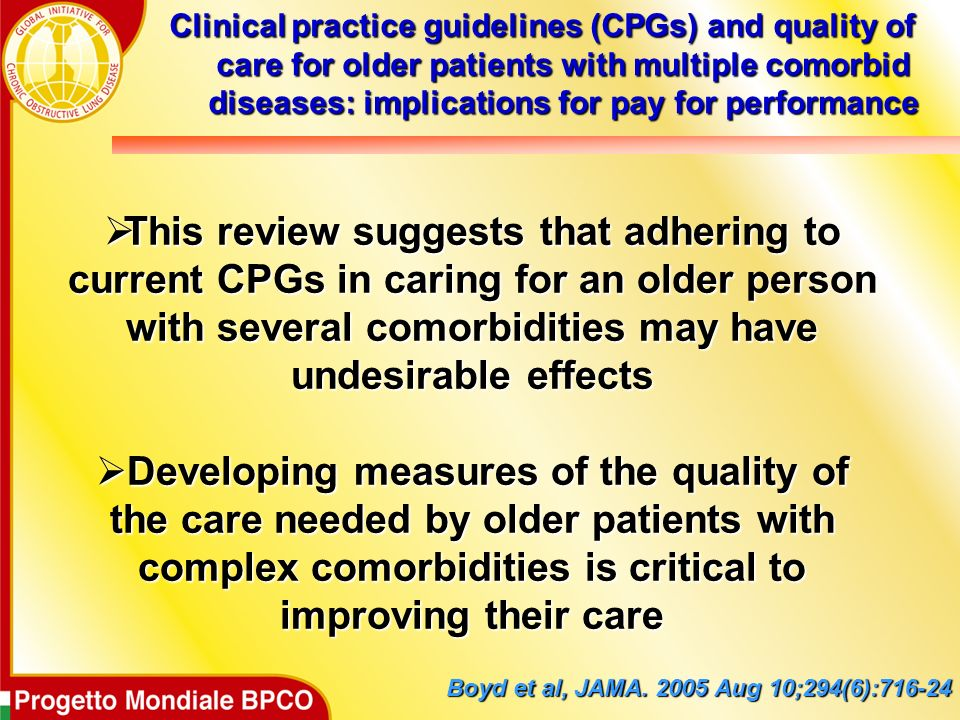 Clinical practice guidelines (CPGs) and quality of care for older patients with multiple comorbid diseases: implications for pay for performance