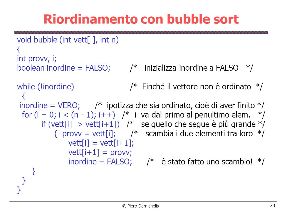 Riordinamento con bubble sort