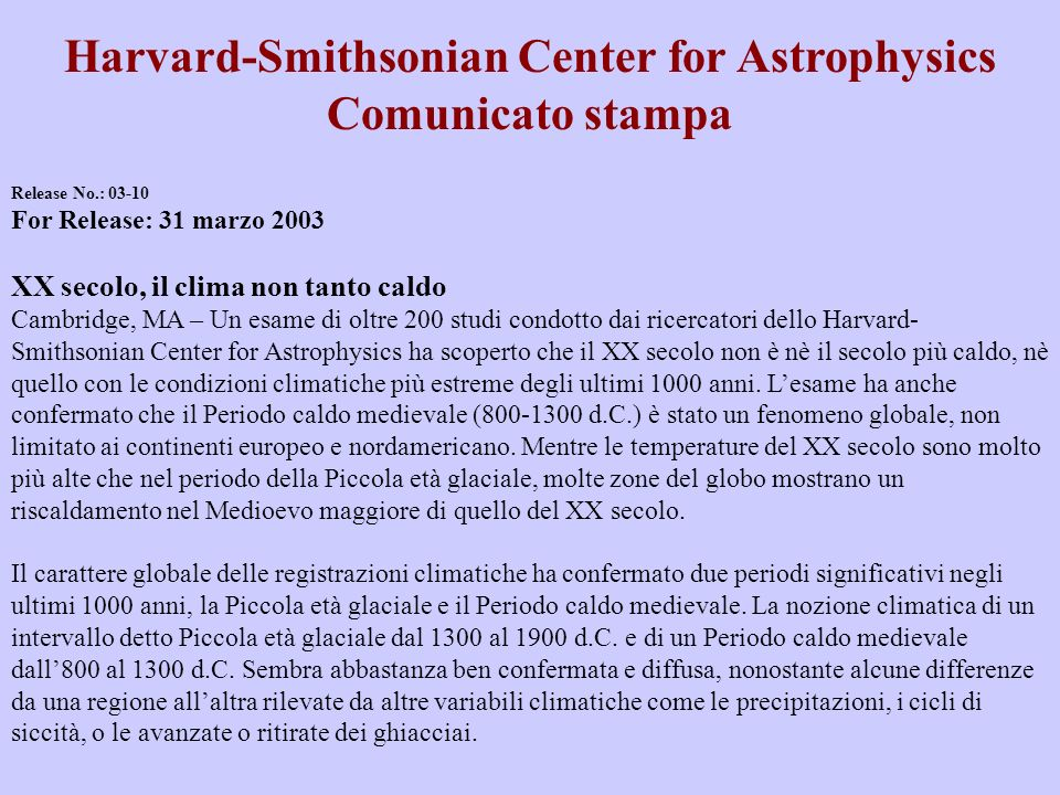 Harvard-Smithsonian Center for Astrophysics Comunicato stampa