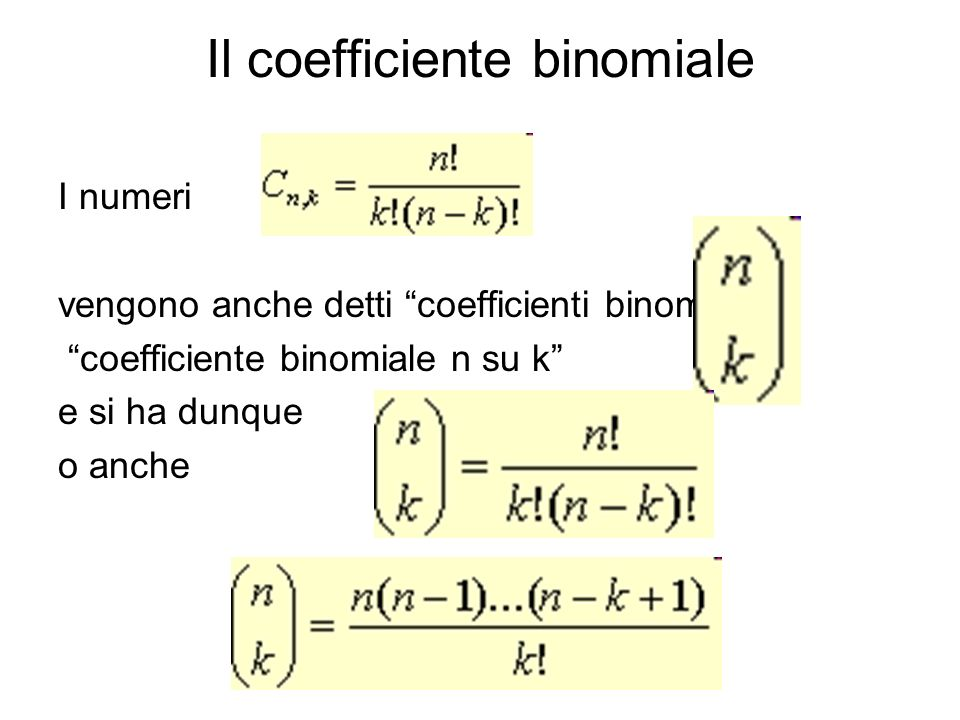 Il coefficiente binomiale